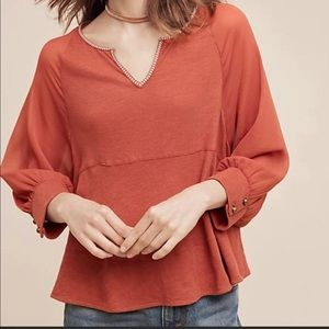 Akemi +Kin Anthro Fenn Dolman Top Rust Orange